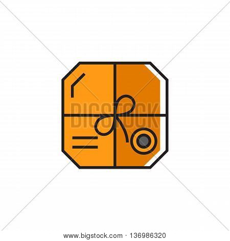 Parcel with rope, address and seal. Carton box, post office, online purchase. Parcel concept. Can be used for topics like post office, delivery, online purchase