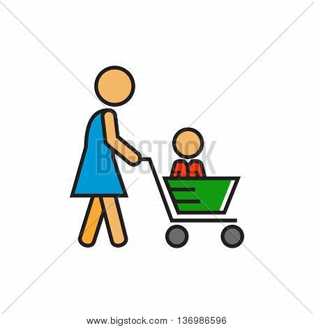 Woman carrying child in shopping cart. Shopping with child, supermarket, buying. Shopping with child concept. Can be used for topics like  shopping, family, customers