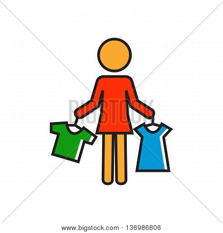Woman holding clothes on hangers. Shopping, choice, shop assistant. Shopping concept. Can be used for topics like shopping, clothes, work