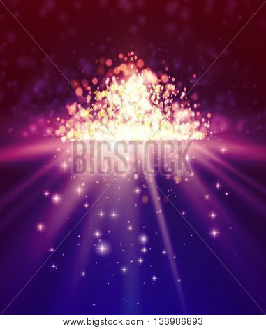 Bokeh background. Mirror abstract background with defocused lights and stars