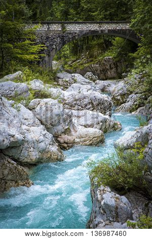 River bed of Soca in Triglav National Park
