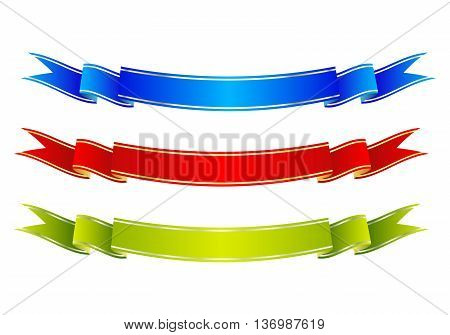 Set of 3 colorful ribbon banners. Blue, red and green scrolls. Vector illustration.