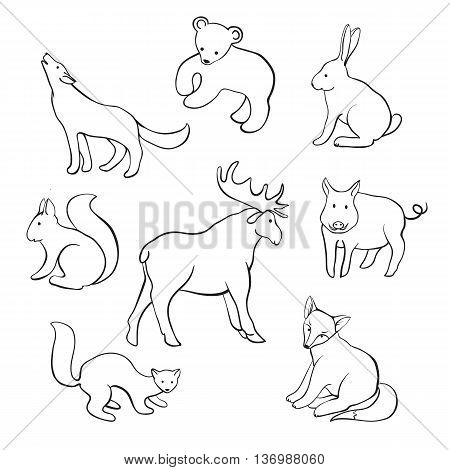 outline animals of the forest isolated on white background