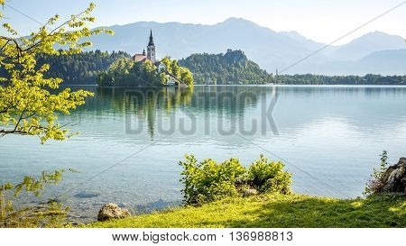 Island with church on Bled lake in Slovenia