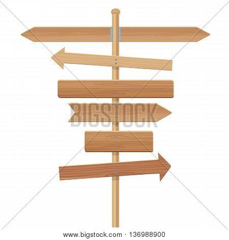 wooden signpost vector illustration isolated on a white background