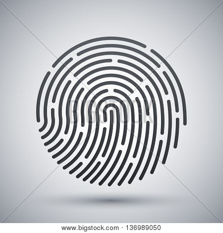 Vector Fingerprint Icon. Fingerprint Simple Icon On A Light Gray Background
