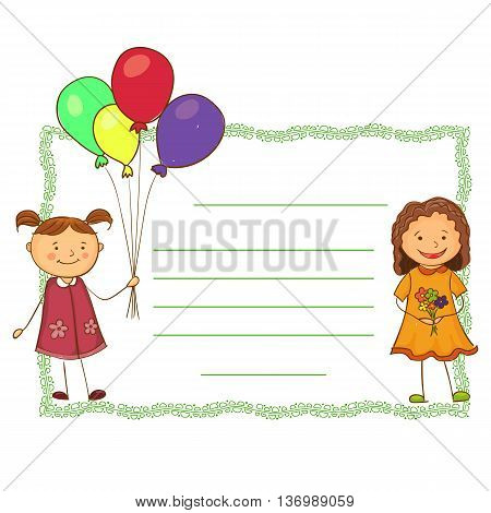cute girls holding a balloon and flowers horisontal banner invitation, card, postcard.
