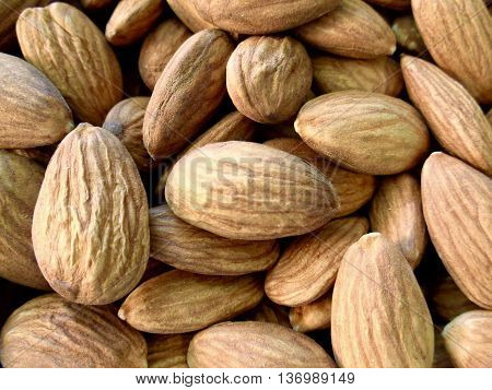 Pile of raw, unsalted almonds close up