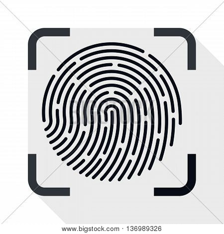 Vector Fingerprint Scanner Icon. Fingerprint Scanner Simple Icon In Flat Style With Long Shadow On W