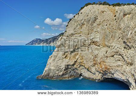 Amazing seascape with Rocks near Porto Katsiki Beach, Lefkada, Ionian Islands, Greece