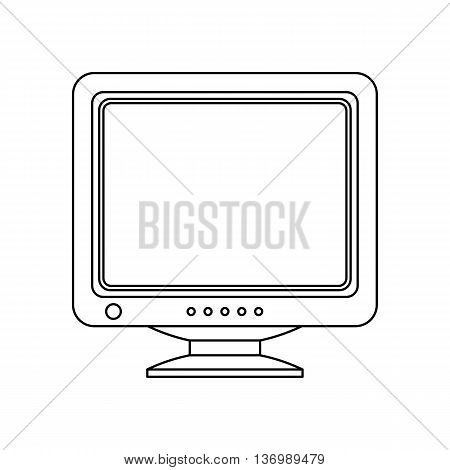 Retro Computer Monitor Icon. Old Computer Screen Icon Isolated On White Background. Outline Version