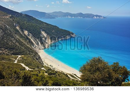 Amazing panorama of Myrtos Beach, Kefalonia, Ionian Islands, Greece