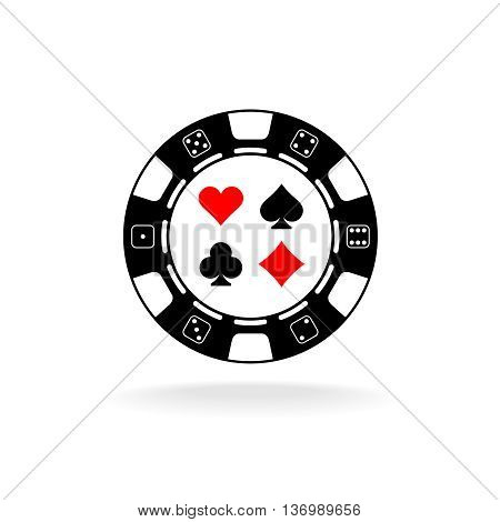 Casino chip logo. Black poker chip with card suits symbols.