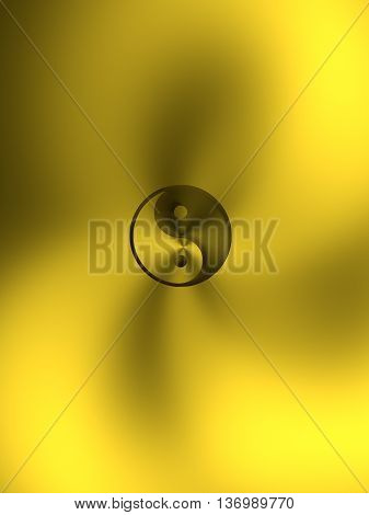 Yin and Yang 3d illustration on a golden background 3d rendering
