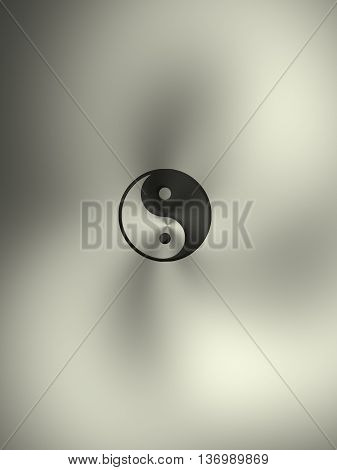 Steel background with the Yin and Yang sign 3d rendering