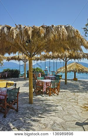 Typical greek tavern in Karavomilos Village, Kefalonia, Ionian Islands, Greece