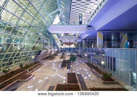 SHENZHEN, CHINA - CIRCA MAY, 2016: Shenzhen Bao'an International Airport at night. It is located near Huangtian and Fuyong villages in Bao'an District, Shenzhen, Guangdong, China.