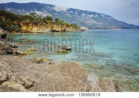 Panoramic view of Pesada beach, Kefalonia, Ionian islands, Greece