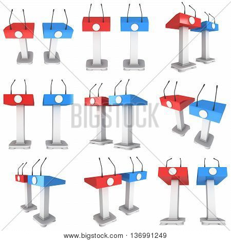 3d Speaker Podium Set. Red and blue tribune rostrum stands with microphones. 3d render isolated on white background. Debate press conference concept collection