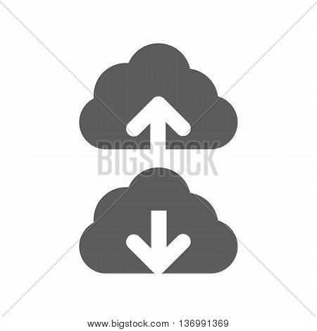 Backup icon vector. Cloud with an arrow on the white background. Vector illustration