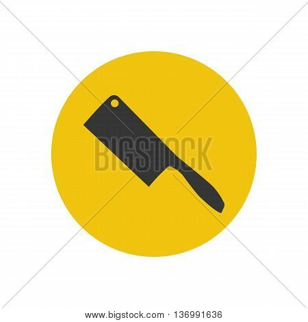 Cleaver knife silhouette on the yellow background. Vector illustration