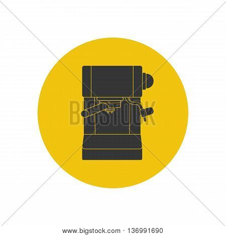 Coffee espresso machine silhouette on the yellow background. Vector illustration