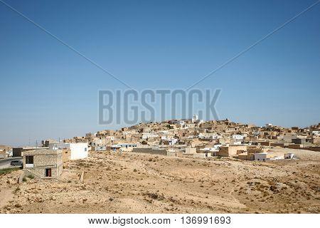A view of the small berber village Tamezret in Tunisia.