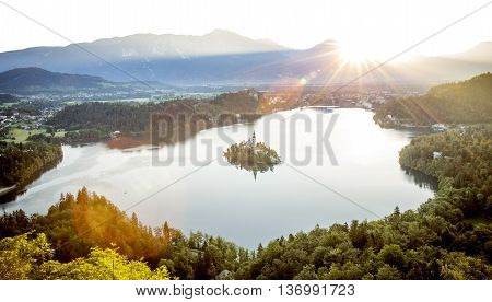 Aerial photography of Bled lake in Slovenia