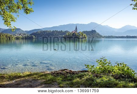Panoramic view of Bled lake in Slovenia
