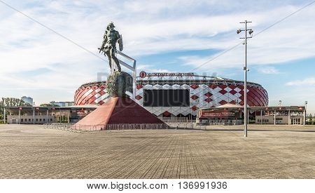 Moscow Russia - June 29 2016: memorial to the Gladiator Spartacus in front of the stadium