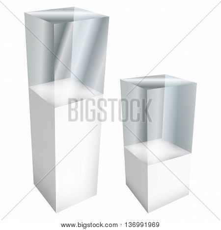 Empty glass large and small showcases for exhibit. 3D Vector illustration isolated on white background. Trade show booth white and blank pedestal with glass box for expo design.