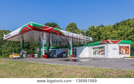 Moscow Russia - July 4 2016: filling stations of Tatneft in the street Bottom Mnevniki.