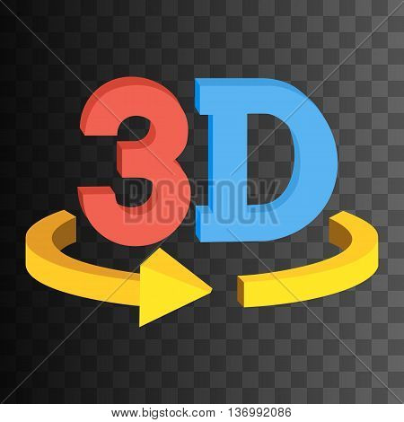 3D rotate button sign icon in red and blue color on black transparent background. Yellow horizontal rotation arrow. Vector illustration.