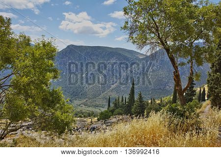 Panoramic view in Ancient Greek archaeological site of Delphi,Central Greece
