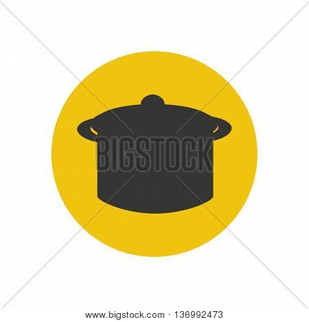 Saucepan silhouette on the yellow background. Vector illustration