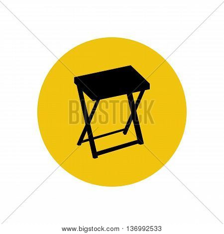 Serving table silhouette on the yellow background. Vector illustration