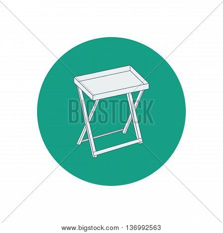 Serving table illustration on the green background. Vector illustration