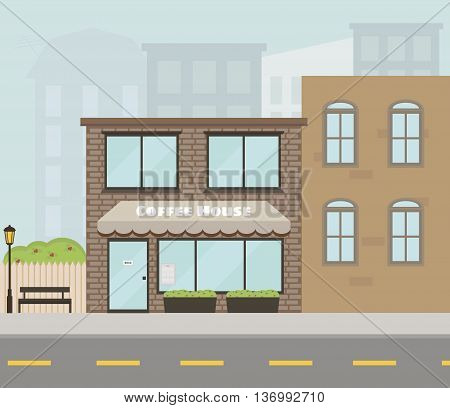 Vector facade of the house with coffee shop/cafe. Flat style. Vector illustration. EPS 10.