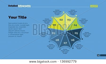 Process chart slide template. Business data. Graph, diagram, design. Creative concept for infographic, templates, presentation, marketing. Can be used for topics like management, strategy, production.