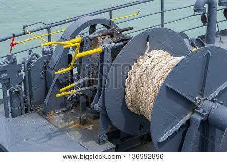 Winch and rope on ferry boat in Thailand
