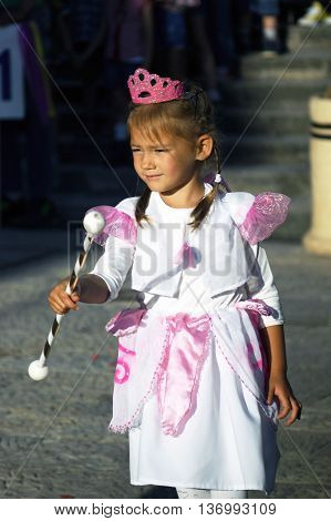 Montenegro, Herceg Novi - 04/06/2016: Girl in fancy dress fairy. 10 International Children's Carnival