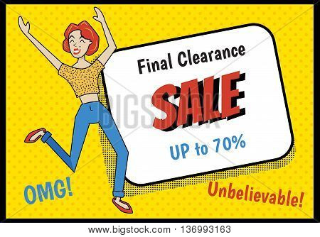 vector illustration of a cute red hair girl showing excitement because of huge sale