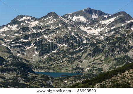 Panoramic view of Popovo lake and Dzhangal peak in Pirin Mountain, Bulgaria