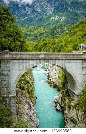 Napoleon bridge over Soca river in Kobardi Slovenia