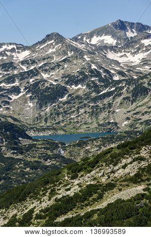 Panoramic view of Popovo lake and Kamenitsa peak in Pirin Mountain, Bulgaria