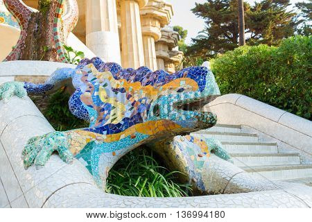famous Gaudi mosaic lizard in park Guell, Barcelona, Spain