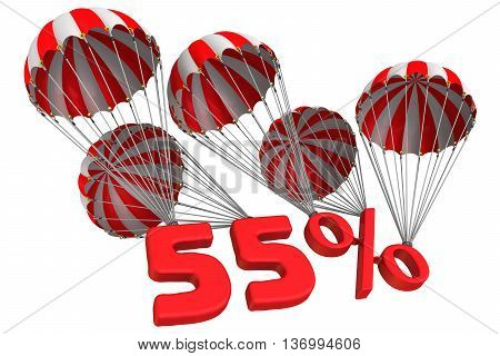 Fifty five percent is falling down on parachute. Isolated. 3D Illustration