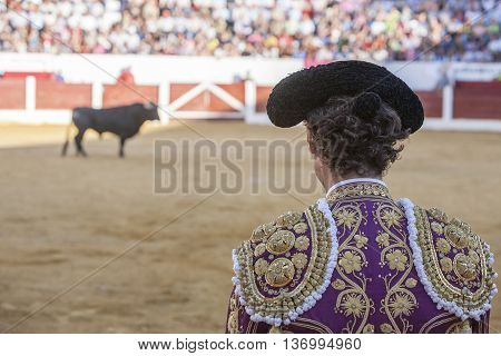 Andujar Spain - September 12 2010: Detail of Pigtail in the XIX century the bullfighters were left to grow a ponytail that braided in a bun called moña vague recollection of the times of the wigs of the XVIII century in the Bullring of Andujar Spain