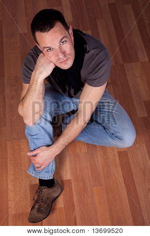 Handsome Man, Sitting On The Floor