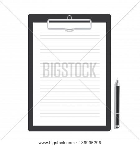 Blank Line Paper On A Clipboard And Black Pen Mock Up Vector. Mock Up Concept.